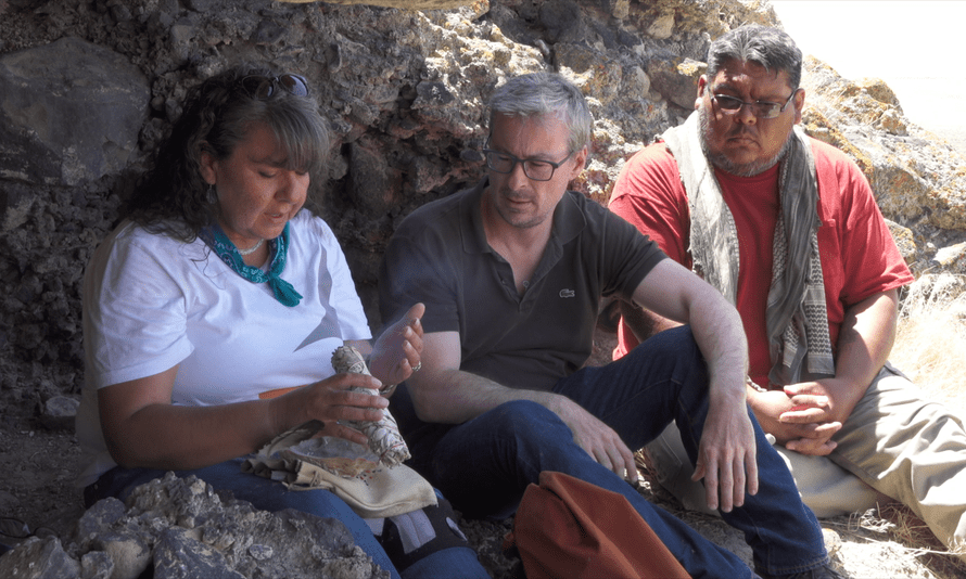 Prof Eske Willerslev with Donna and Joey, two members of the Fallon Paiute-Shoshone tribe