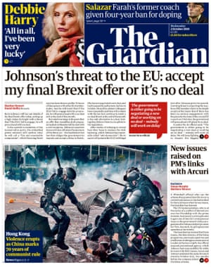 Guardian front page, Wednesday 2 October 2019