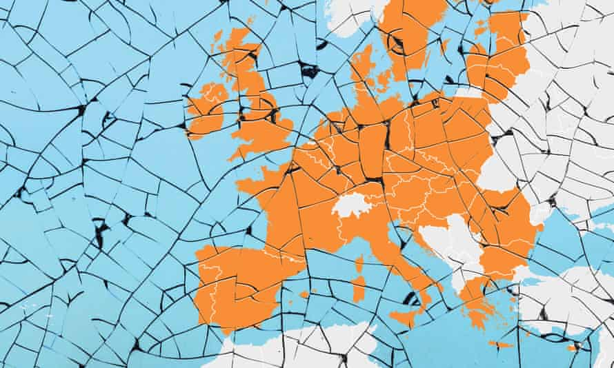 Fractured map of Europe