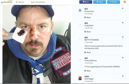 Trump campaign operative rewards rightwing activist bloodied at Berkeley protests | The far right | The Guardian