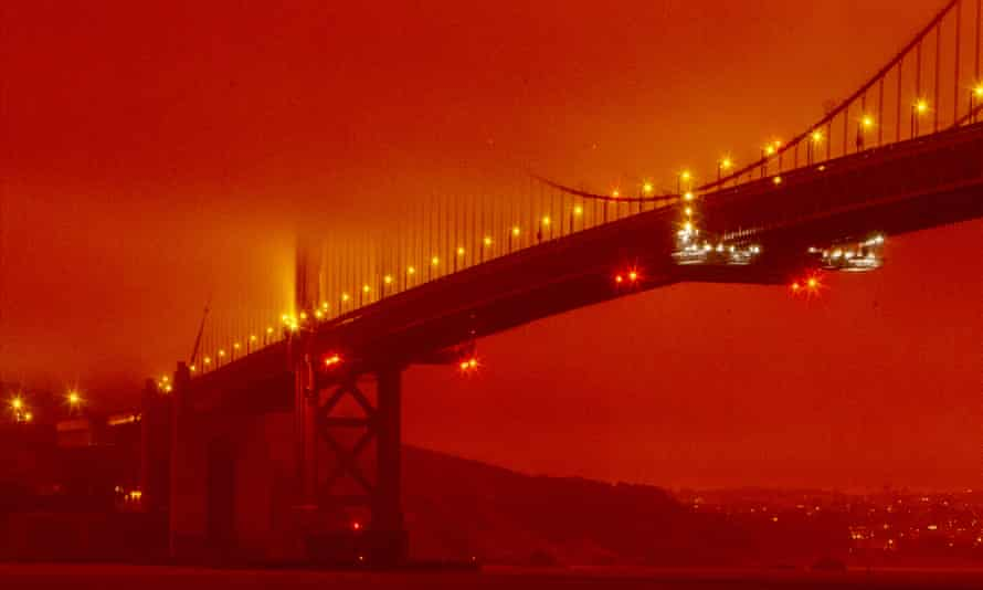Californians woke up to red, sunless skies and layers of ash coating everything as a result of wildfires across the state.