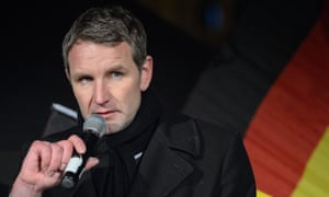 Björn Höcke, head of the AfD party, speaks to supporters at a rally in Thuringia.