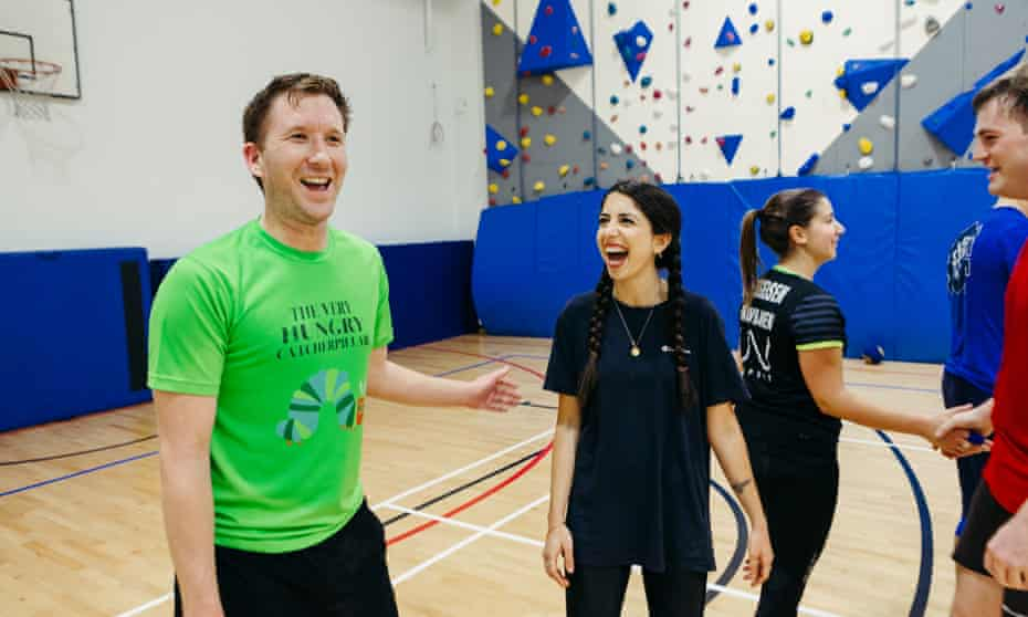 Sirin Kale, centre, playing dodgeball with Headshot United – she had been dreading it.