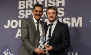 The Guardian's chief football writer, Daniel Taylor (right), is presented with the scoop of the year award by Andy Woodward.
