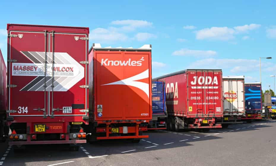 Lorries parked at a service station