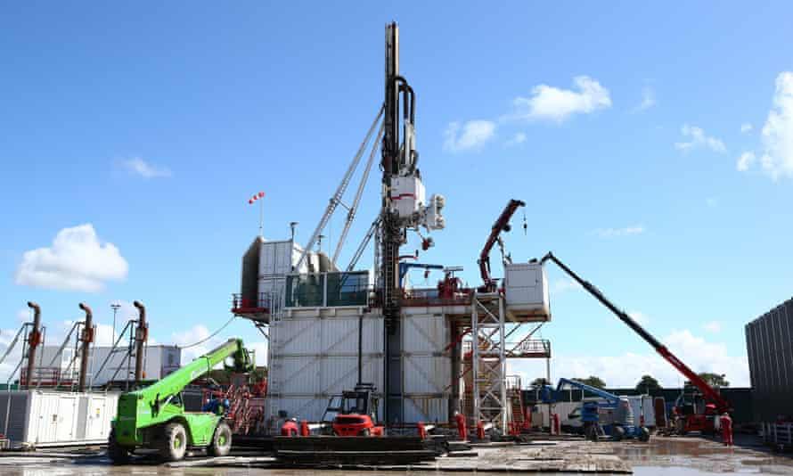 The drilling rig at Cuadrilla's Preston New Road fracking site