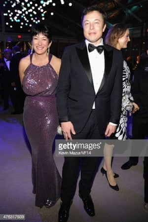 Ghislaine Maxwell and Elon Musk attend the 2014 Vanity Fair Oscar Party in West Hollywood, California, in 2014.