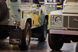 Some of the last Defender models on the production line at Land Rover's Solihull plant