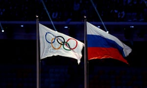 The flags of Russia and the International Olympic Committee