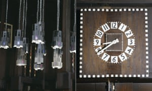 Light fittings and the library clock.