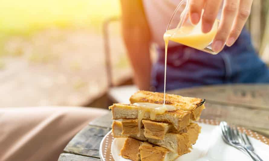 Condensed milk on toast