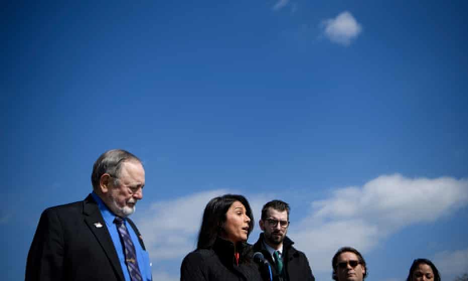 Gabbard, and Don Young, Republican congressman of Alaska, announce bipartisan marijuana legislation March 2019 in Washington DC.