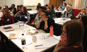 Teachers and librarians listening to Prue Goodwin's session at at the Guardian Education Centre Reading for pleasure conference 5 March 2018.