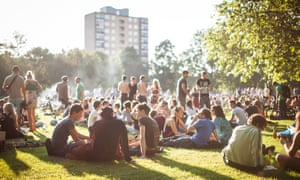 Crowd of people in London Fields Park, East London