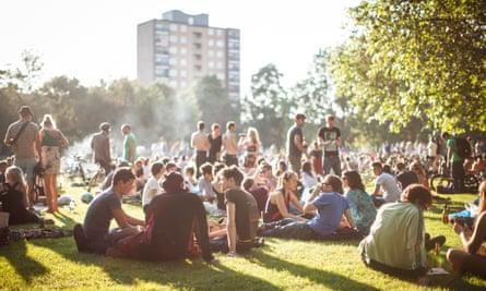 Crowd of people in London Fields Park, East London
