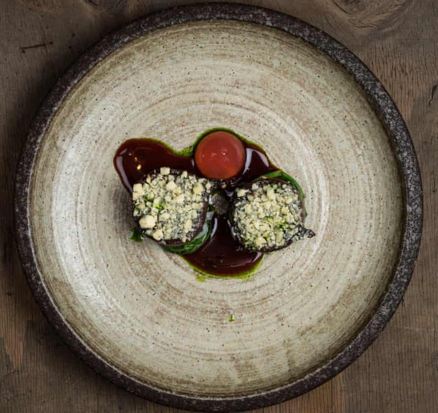 Wood fired onions, Yorkshire blue, rhubarb & lemon verbena.