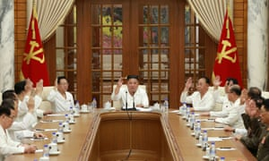 The ayes have it. North Korean leader Kim Jong Un attends an enlarged meeting of the Political Bureau of the 7th Central Committee of the Workers' Party of Korea in Pyongyang.