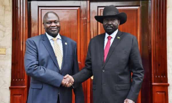 South Sudan's president, Salva Kiir, with former vice-president and former rebel leader Riek Machar