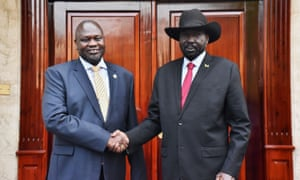 South Sudan's president, Salva Kiir, with former vice-president and former rebel leader Riek Machar