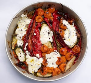 A roast for summer: baked peppers with yogurt and sumac.