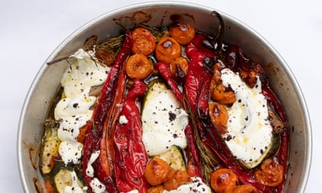 Baked peppers with yogurt and sumac