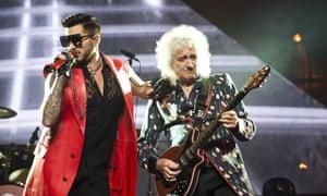 Adam Lambert, performing with Queen's Brian May in Barcelona.