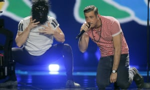 Francesco Gabbani (right) performing Italy's Eurovision entry, one of only four songs to feature no English lyrics this year.