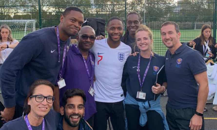 Raheem Sterling on a visit to his old school