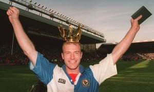 Alan Shearer celebrates after winning the title in 1995.