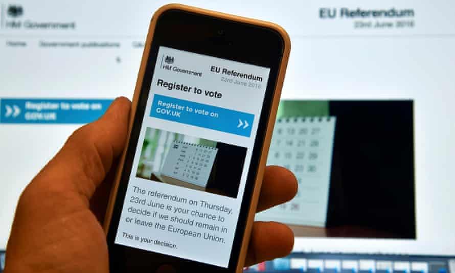 The EU referendum voter registration website.