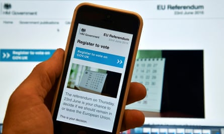 A web page on a voting registration site for the forthcoming British EU referendum