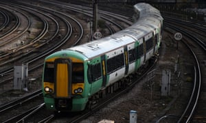 A Southern rail train outside Victoria Station in London