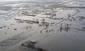 Extensive flooding is seen near Cameron, Louisiana, in the aftermath of Hurricane Laura.