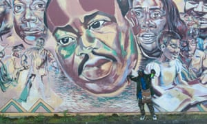 A mural depicting parts of Martin Luther King's 'I have a Dream' speech is seen in Portland, Oregon.