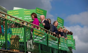 Leanne Wood (centre left in pink) and Hywel Williams (Plaid Cymru MP for Arfon, centre left) with supporters in Bangor at a Plaid Cymru campaign launch.