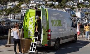 A Yodel van making delivery in Looe, Cornwall