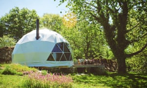 The dome tent with proper bed, a proper bathroom and a log-burning stove. Creuse region of France.