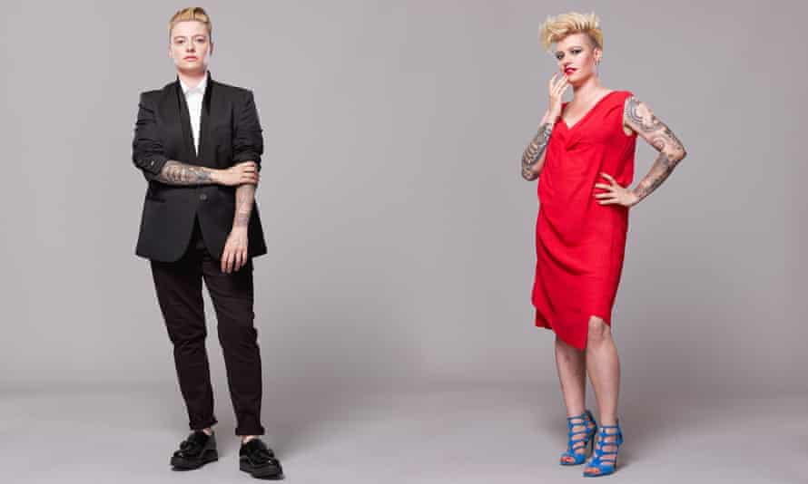 Jack Monroe in duit and dress.