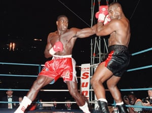 Frank Bruno fighting Oliver McCall on his way to winning the WBC heavyweight belt at Wembley, London, in 1995.