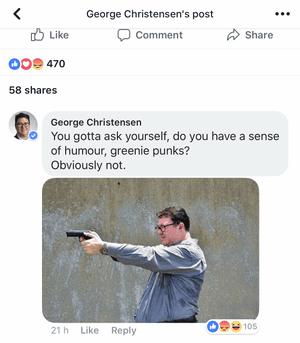 Christensen's edited post on Sunday