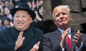 Kim Jogn-un and Donald Trump clapping