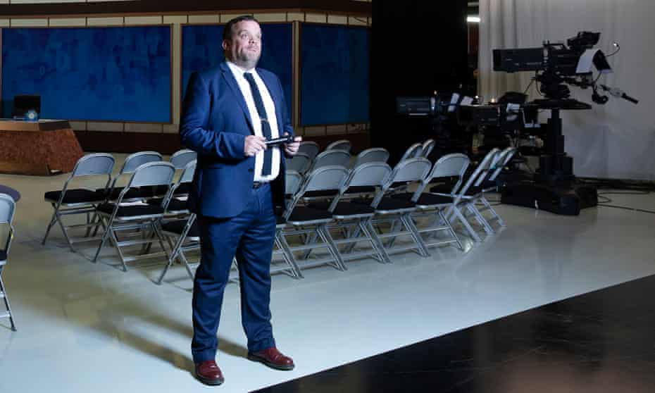 Mark Olver, warm-up comedian, on the set of 8 out of 10 Cats do Countdown at Media City in Manchester