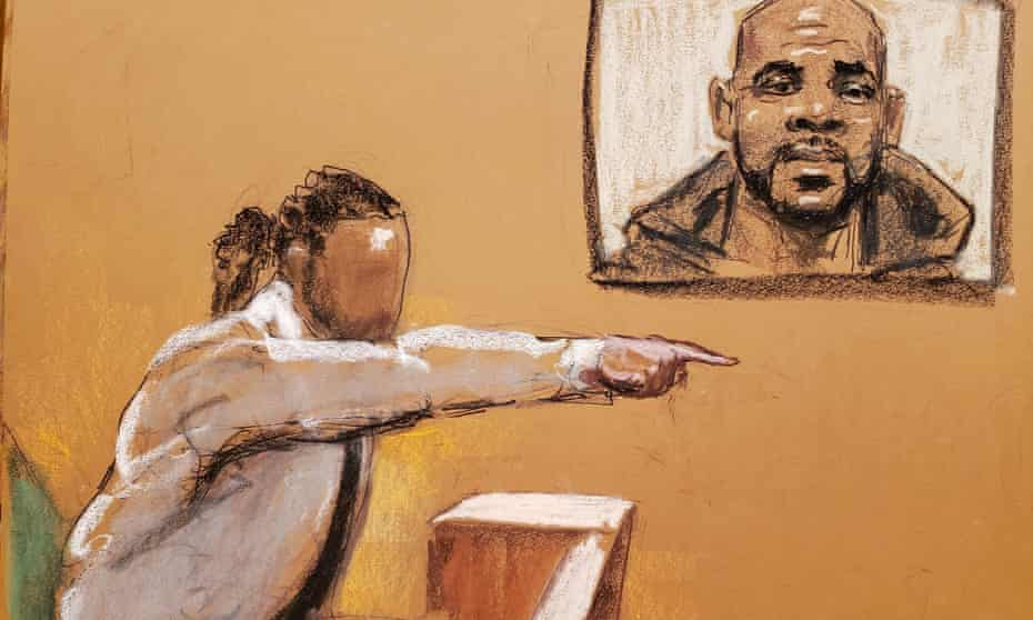 A male witness testifies during R Kelly's sex abuse trial at Brooklyn's federal district court in New York on Monday.