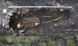 skeleton in a grave