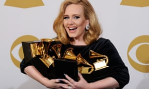 Adele at the Grammy awards in February