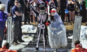 Skeleton couple at the Frozen Dead Guy Festival, Colorado.