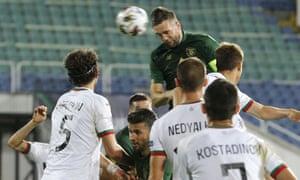 Shane Duffy rises highest to score Republic of Ireland's equaliser against Bulgaria.