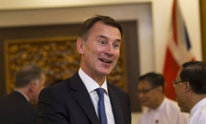 Jeremy Hunt during his two-day visit to Myanmar last week.