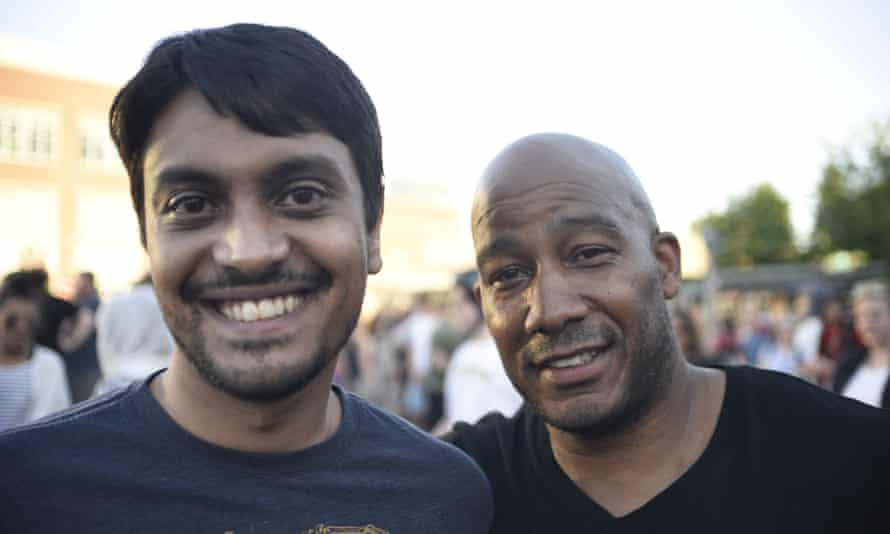 Amer Salam, left, and Keenan Davis at the vigil in Portland.