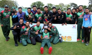 Bangladesh celebrate victory in the tri-series in Dublin after beating West Indies last Friday.